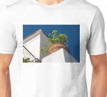 Contemplating Mediterranean Vacations - Red Tile Roofs and Terracotta Flowerpots Unisex T-Shirt