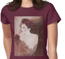 FLOWER-PRINCESS WITH AUBURN HYDRANGEAS - Watercolour-Painting-Design Womens Fitted T-Shirt