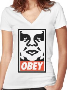 Obey Design, High Quality  Women's Fitted V-Neck T-Shirt