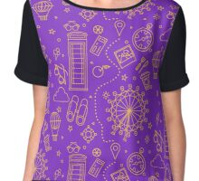 London Seamless Pattern with London Eye, Phone Box and Travel Elements.  Chiffon Top