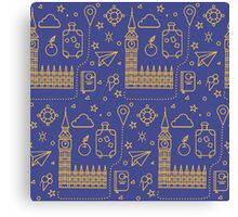 London Seamless Pattern with Big Ben, Parliament Building and Travel Elements.  Canvas Print