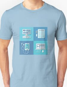Modern Technologies: Laptop, Computer, Smart Phone, Tablet and Accessories.  T-Shirt
