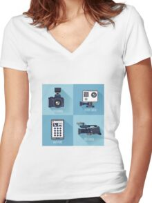 Modern Technologies. Professional Photo and Video Camera, Extreme Camera and Smart Phone.  Women's Fitted V-Neck T-Shirt