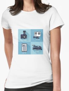 Modern Technologies. Professional Photo and Video Camera, Extreme Camera and Smart Phone.  Womens Fitted T-Shirt