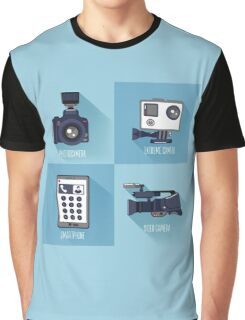Modern Technologies. Professional Photo and Video Camera, Extreme Camera and Smart Phone.  Graphic T-Shirt