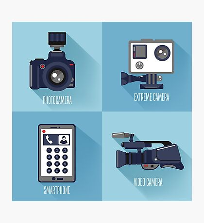 Modern Technologies. Professional Photo and Video Camera, Extreme Camera and Smart Phone.  Photographic Print