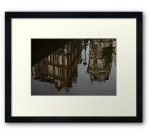 Starting to Rain - Amsterdam Canal Houses Reflected Framed Print