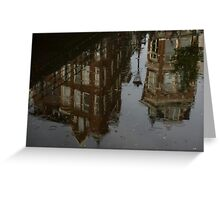 Starting to Rain - Amsterdam Canal Houses Reflected Greeting Card