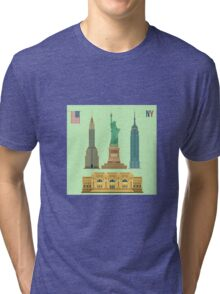 Set of New York Famous Buildings: Statue of Liberty, Metropolitan Museum of Art, Empire State Building, Chrysler Building Tri-blend T-Shirt