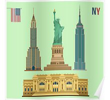 Set of New York Famous Buildings: Statue of Liberty, Metropolitan Museum of Art, Empire State Building, Chrysler Building Poster
