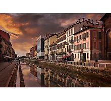 A Sleepy Sunday at Naviglio Grande Photographic Print