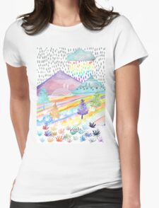 Watercolour Landscape Womens Fitted T-Shirt