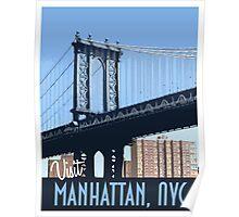 Vintage Travel Poster Manhattan, Nyc  Poster