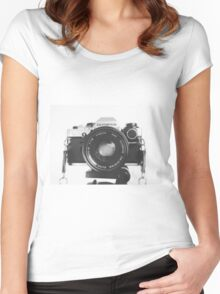 Vintage happy snap Women's Fitted Scoop T-Shirt