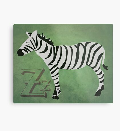 Sleepy Zzzebra Metal Print