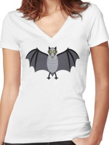 BAT WITH IMPROVED VISION Women's Fitted V-Neck T-Shirt