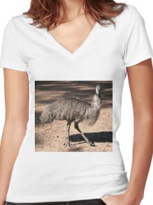 Aussie Emu Women's Fitted V-Neck T-Shirt