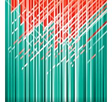 Teal and Red Dynamic Lines Photographic Print