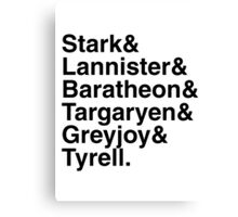 Game Of Thrones - Houses Canvas Print