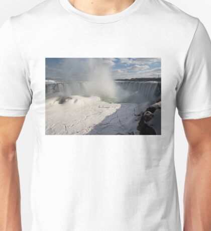 Niagara Falls Ice Buildup Panorama - Canadian Horseshoe Falls, Ontario, Canada Unisex T-Shirt