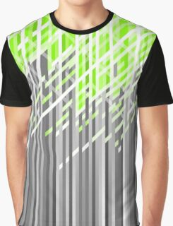 Green and Gray Dynamic Lines Graphic T-Shirt
