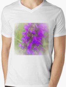 Shadow Clan Enhanced Purple Flowers Mens V-Neck T-Shirt