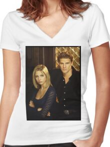 buffy and angel Women's Fitted V-Neck T-Shirt