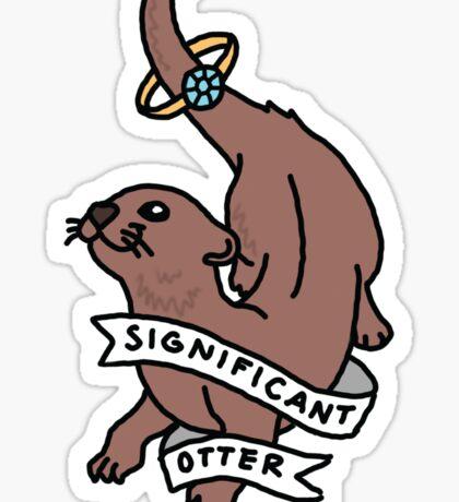Significant otter romance marriage wedding boyfriend love nature print Sticker