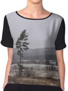 Canadian North - Lone Pine, Fields, Hills and Fresh Snow Chiffon Top