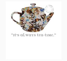 Mad Hatter Rainbow Whimsical Teapot Print Many Colors Artistic Pattern Tea Party Typography Kitchen Baby Tee
