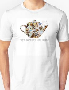 Mad Hatter Rainbow Whimsical Teapot Print Many Colors Artistic Pattern Tea Party Typography Kitchen Unisex T-Shirt