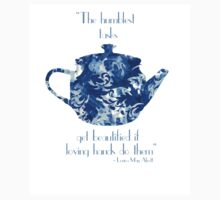 Dark Blue Teapot Print Japanese Floral Flower Tea Pot Kettle Typography Kitchen Baby Tee