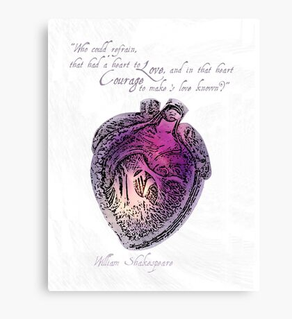 Anatomical Heart Love Print Purple Watercolor Ink illustration William Shakespeare Literary Quote Typography Canvas Print