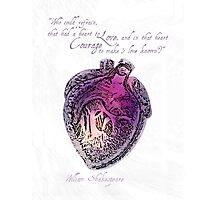 Anatomical Heart Love Print Purple Watercolor Ink illustration William Shakespeare Literary Quote Typography Photographic Print