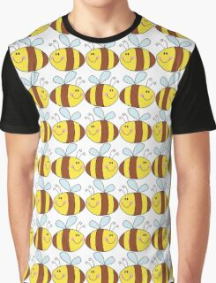 Cute Bumble Bee Drawing Pattern Graphic T-Shirt