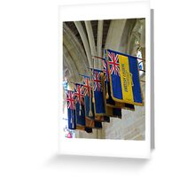Colourful Flags, Exeter Cathedral, Devon Greeting Card
