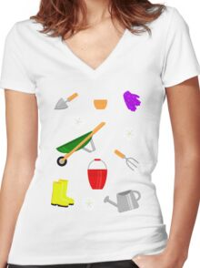 Gardening Pattern Women's Fitted V-Neck T-Shirt