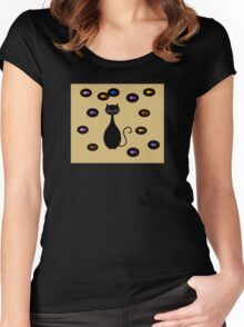 Black Yellow Cat and Fish Illustration  Women's Fitted Scoop T-Shirt