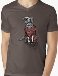 """""""Sassy"""" (Small Dog in her Red Sweater) Mens V-Neck T-Shirt"""