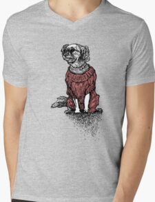 """Sassy"" (Small Dog in her Red Sweater) Mens V-Neck T-Shirt"