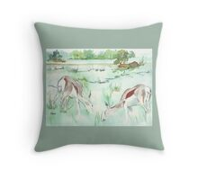 Sketching in the Game Reserve - Springbuck Throw Pillow