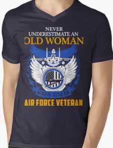 Never Underestimate an Old Woman who is also an Air Force Veteran Mens V-Neck T-Shirt