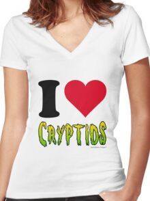 I Love Cryptids Women's Fitted V-Neck T-Shirt