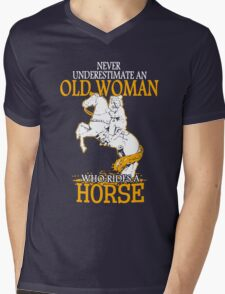 Never Underestimate an Old Woman who rides a Horse Mens V-Neck T-Shirt