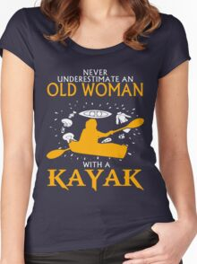 Never Underestimate an Old Woman with a Kayak Women's Fitted Scoop T-Shirt