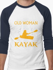 Never Underestimate an Old Woman with a Kayak Men's Baseball ¾ T-Shirt