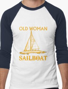 Never Underestimate an Old Woman with a Sailboat Men's Baseball ¾ T-Shirt