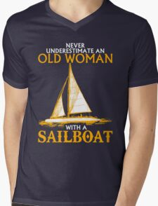 Never Underestimate an Old Woman with a Sailboat Mens V-Neck T-Shirt
