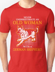 Never Underestimate an Old Woman with a German Shepherd T-Shirt