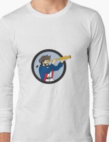 Pirate Looking Spyglass Circle Cartoon T-Shirt